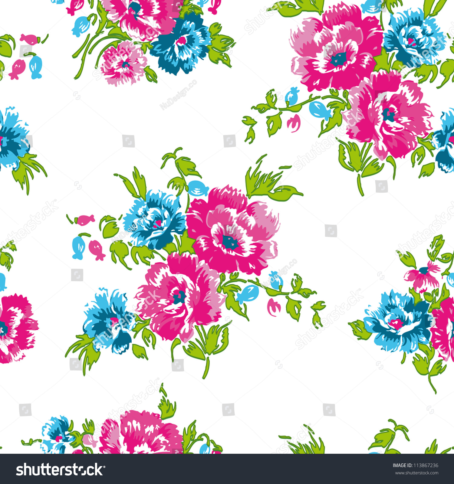 Floral Seamless Pattern. Use For Backgrounds And Fill, Or