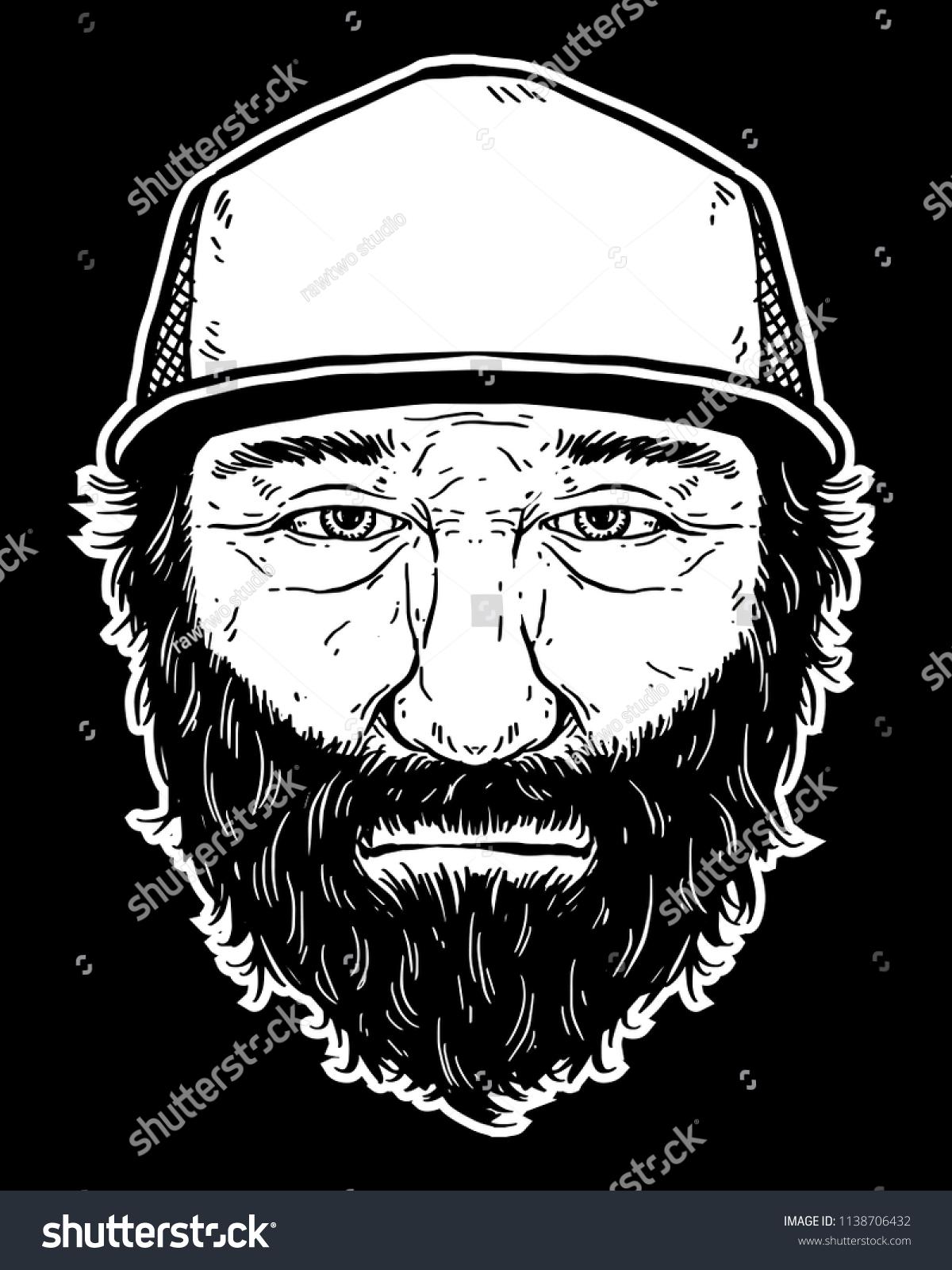 Beard man wearing trucker cap black and white illustration for t shirt sticker