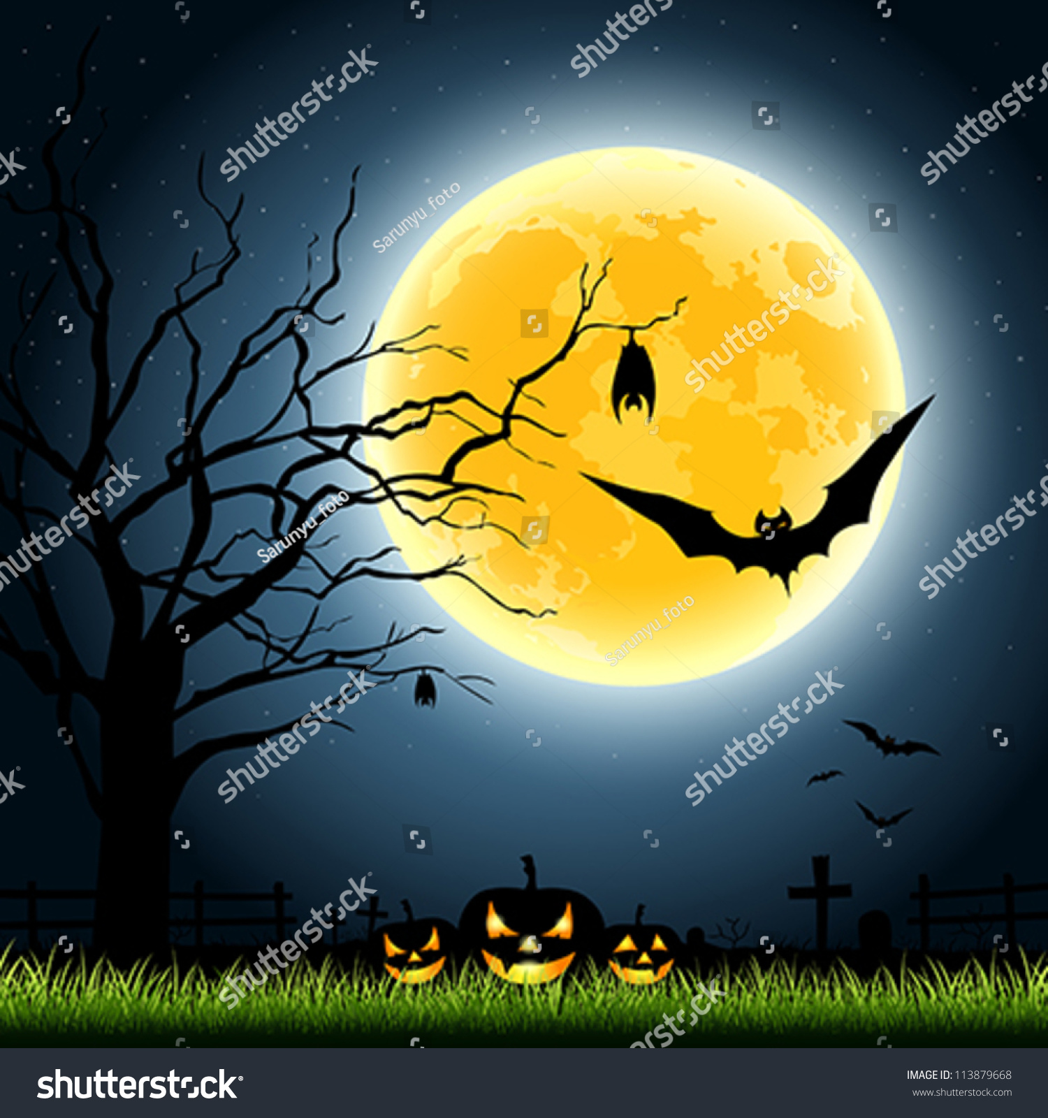 Halloween Full Moon Party Night Background Stock Vector 113879668 ...