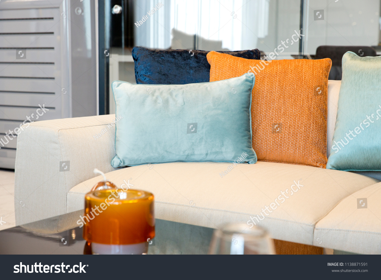 149efda9934f Modern White Beige Couch Light Blue Stock Photo (Edit Now ...