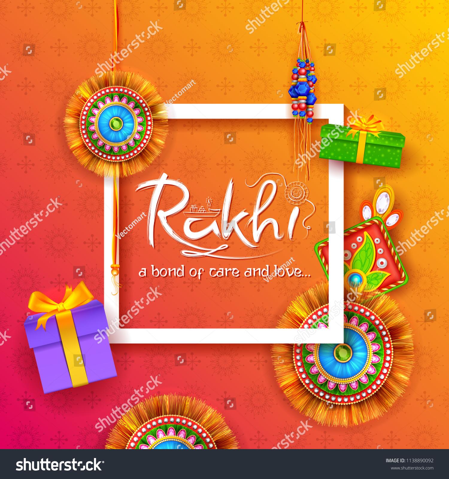 Illustration Greeting Card Decorative Rakhi Raksha Stock Vector