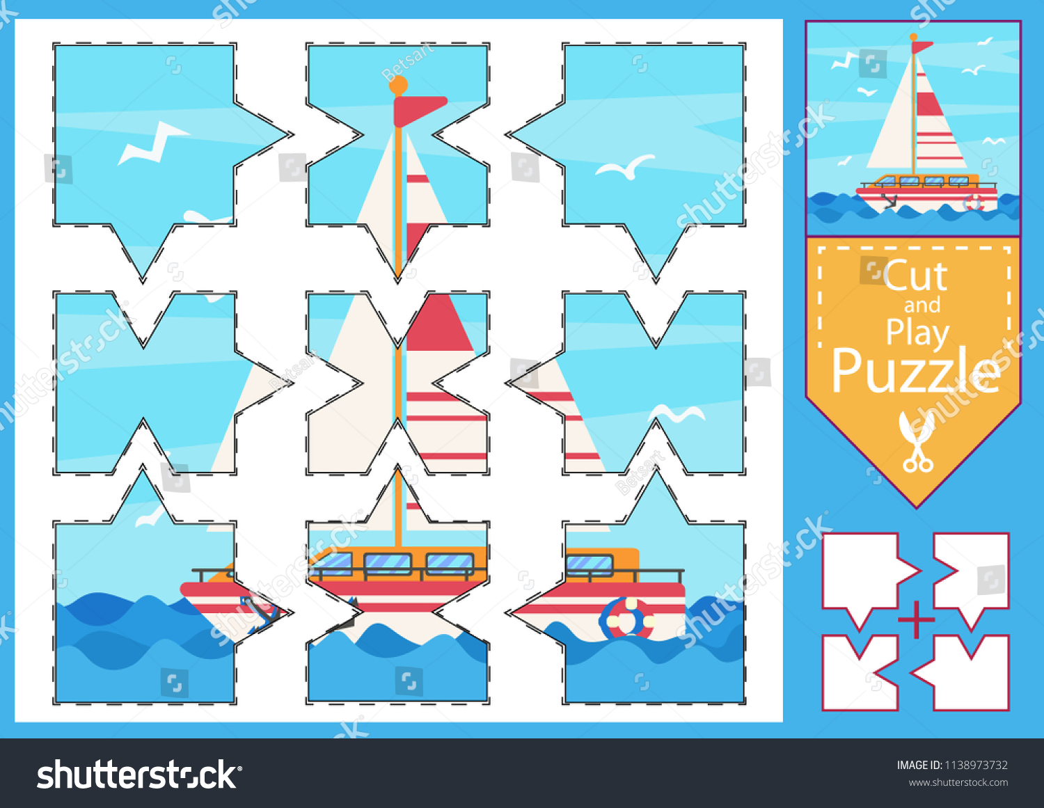 Children Puzzle Game Worksheets Drawing Sea Stock Vector (Royalty ...
