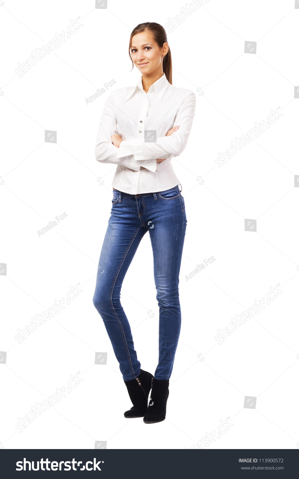 Lovely Woman White Shirt Blue Jeans Stock Photo 113900572 ...