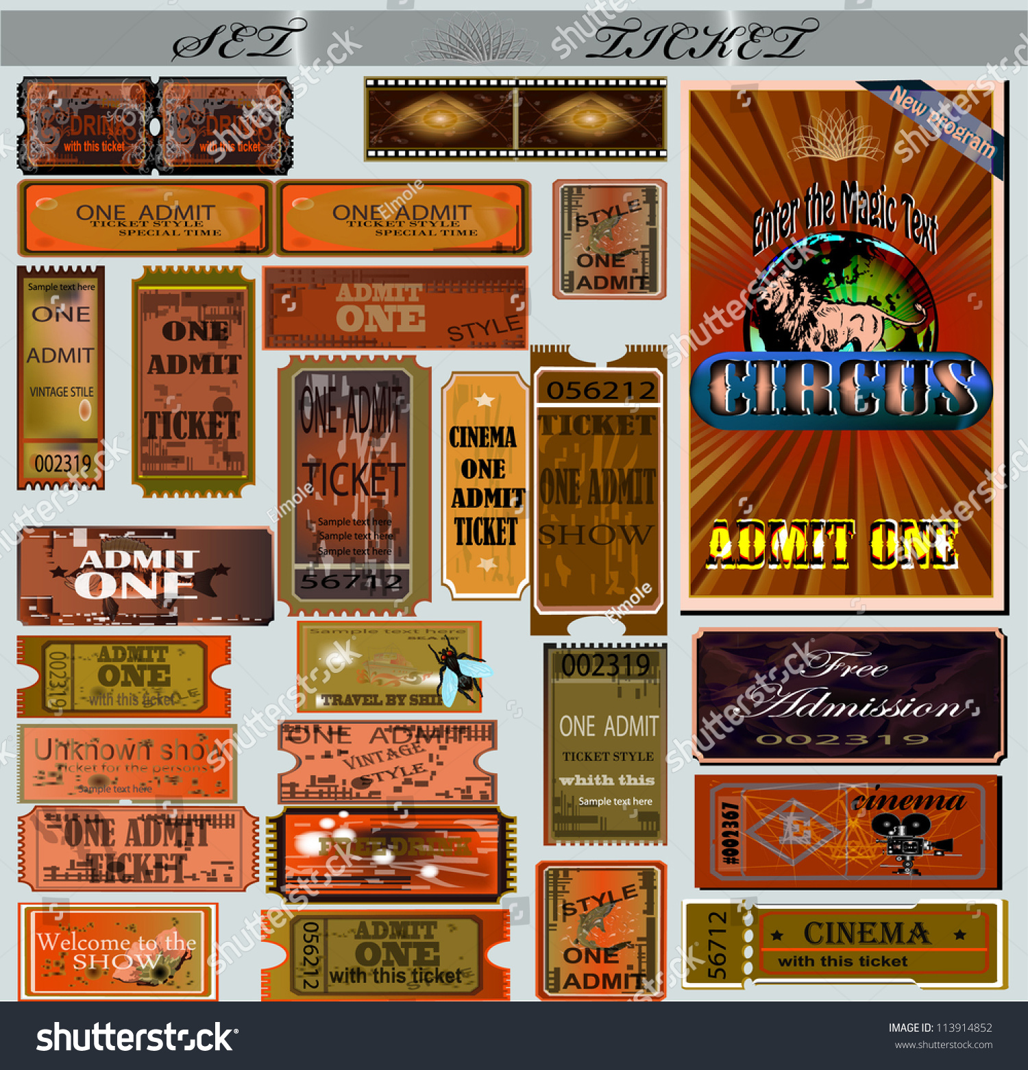 Movie Offer Coupons Stock Vector Big Set Of Tickets And Coupons