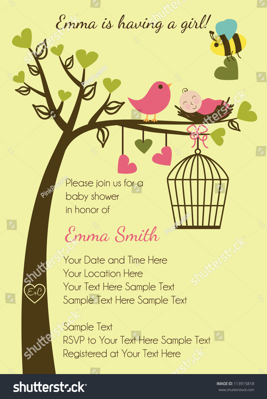 Birds Bees Baby Shower Invitation Stock Vector 113915818 - Shutterstock