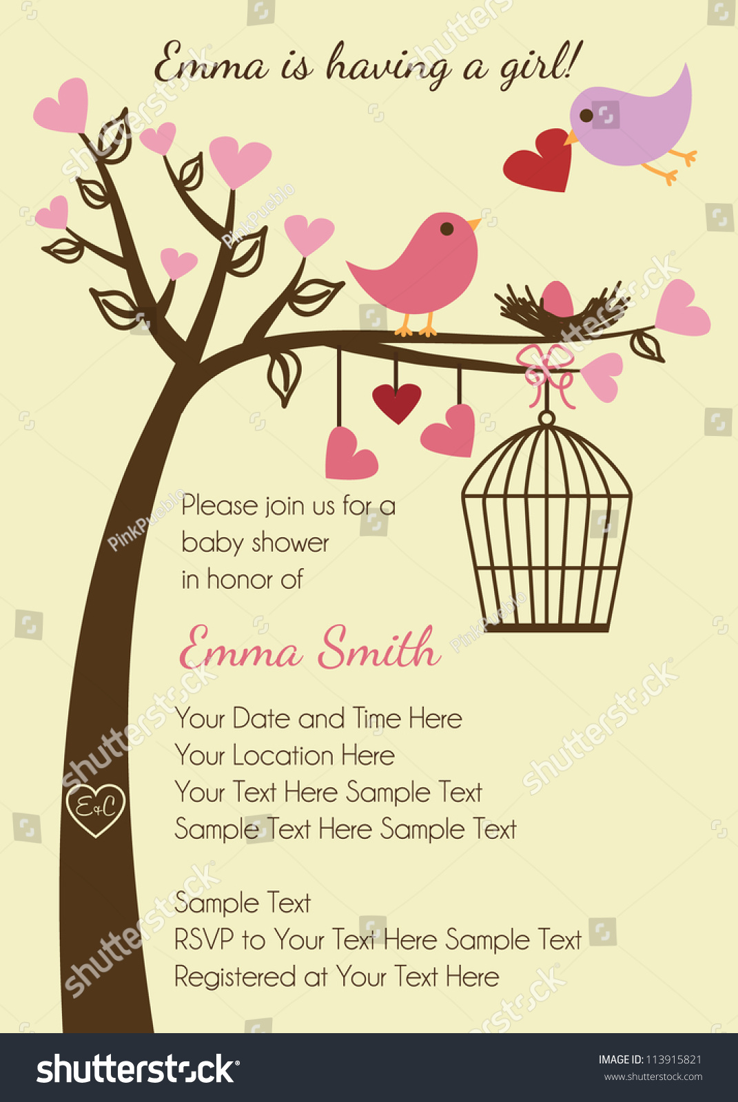 Bird Family Baby Shower Invitation Template Stock Vector 113915821 ...
