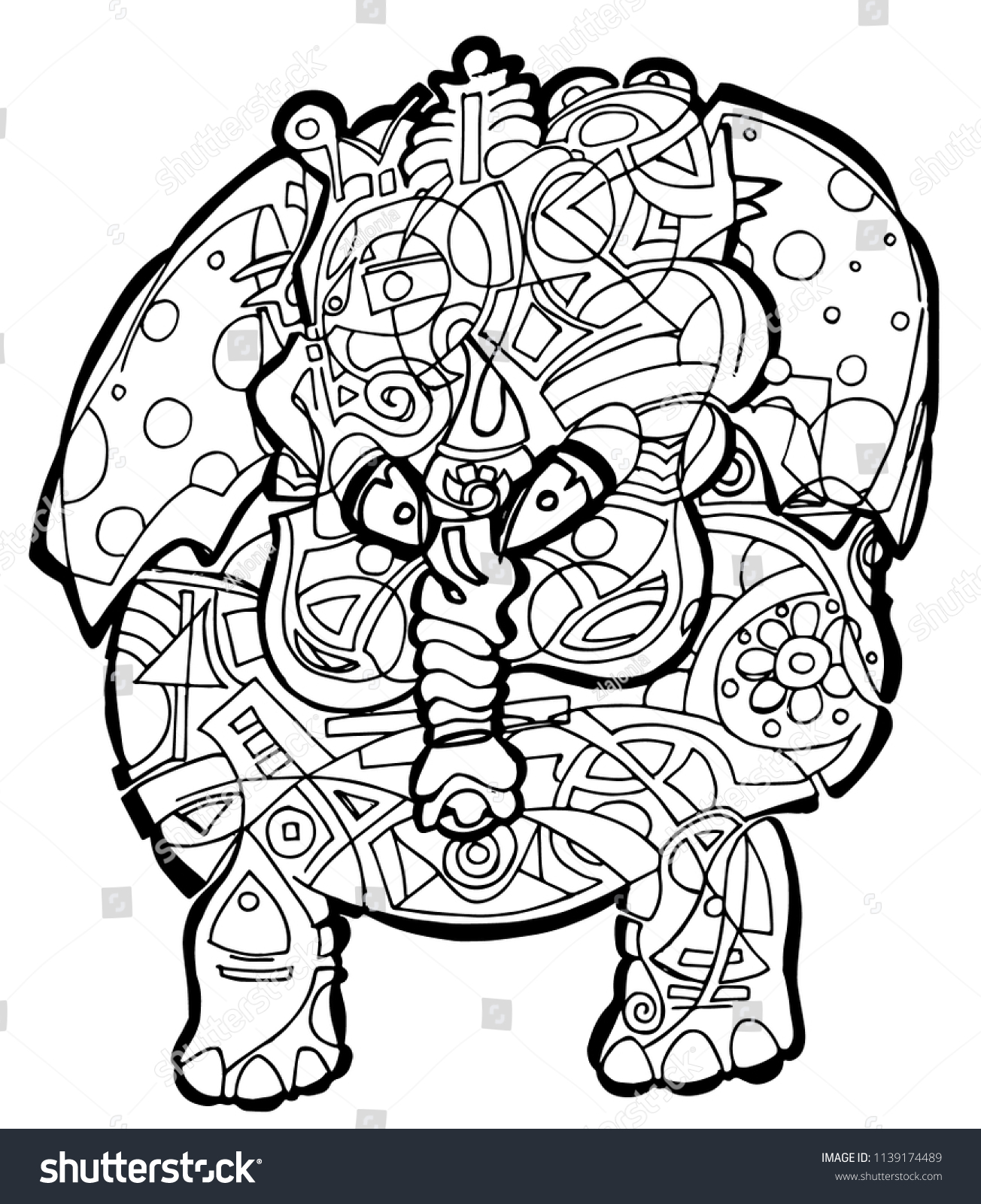 Abstract Elephant Coloring Pages - GetColoringPages.com | 1600x1304
