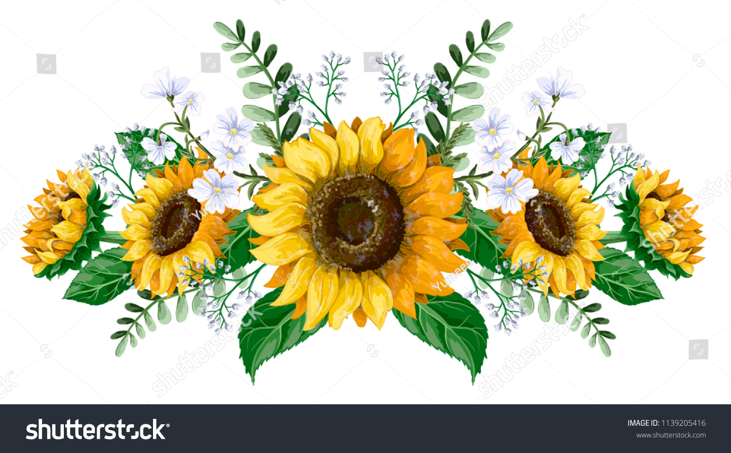 Sunflowers bouquet with wild flower isolated.