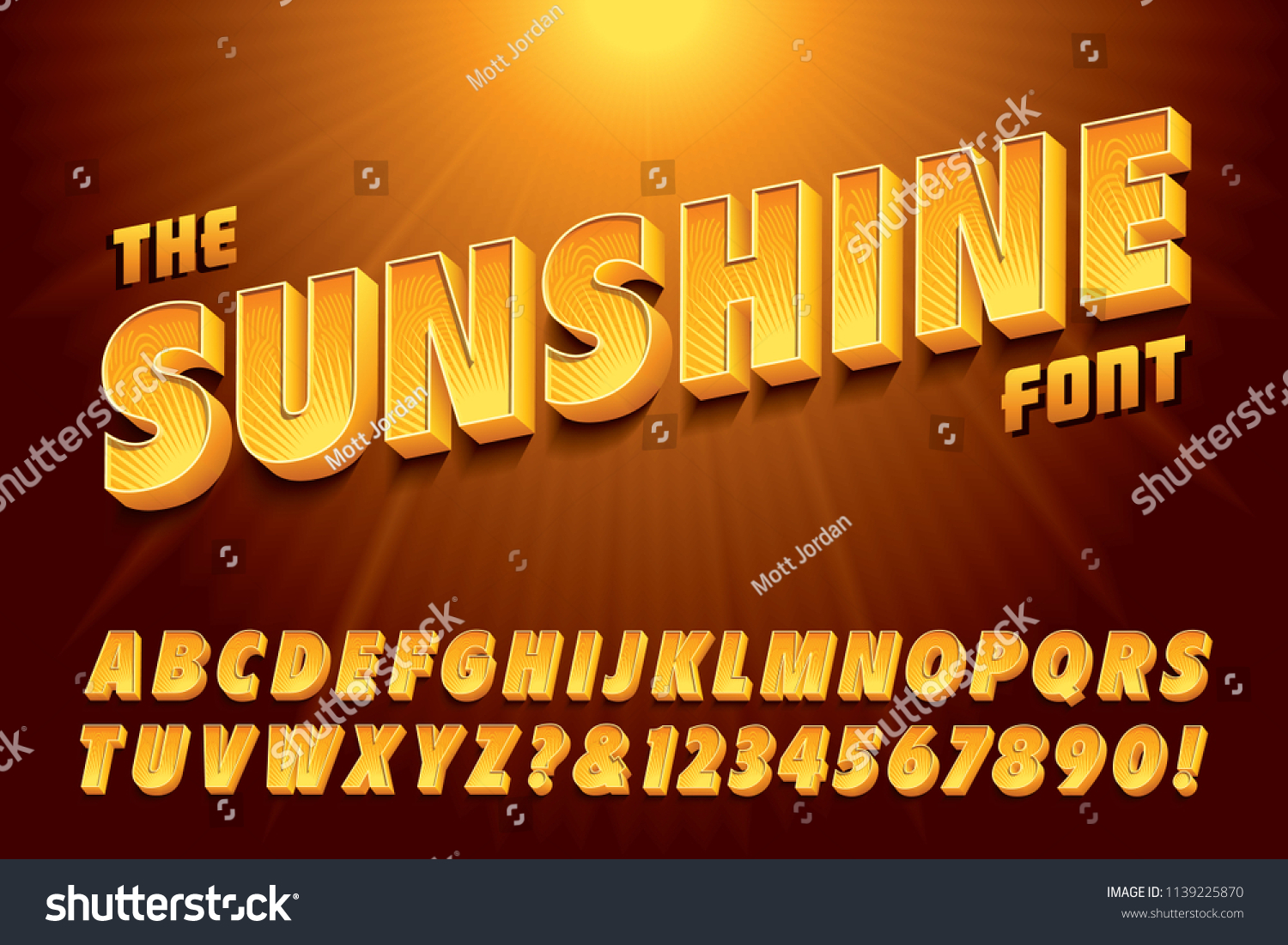 A stylized 3d vector alphabet with bright yellow sunshine effects #1139225870