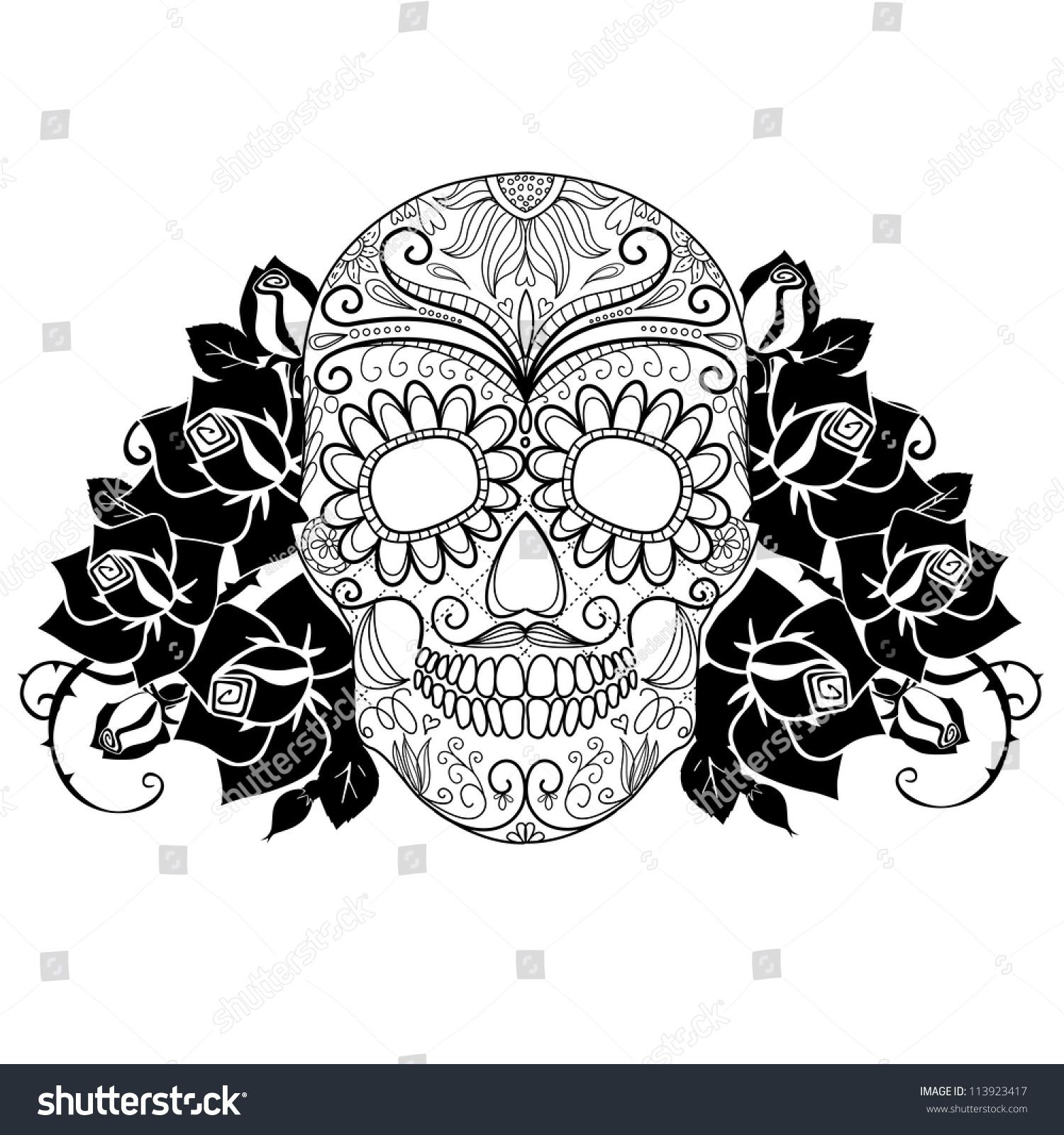 Skull Roses Black White Day Dead Stock Vector 113923417