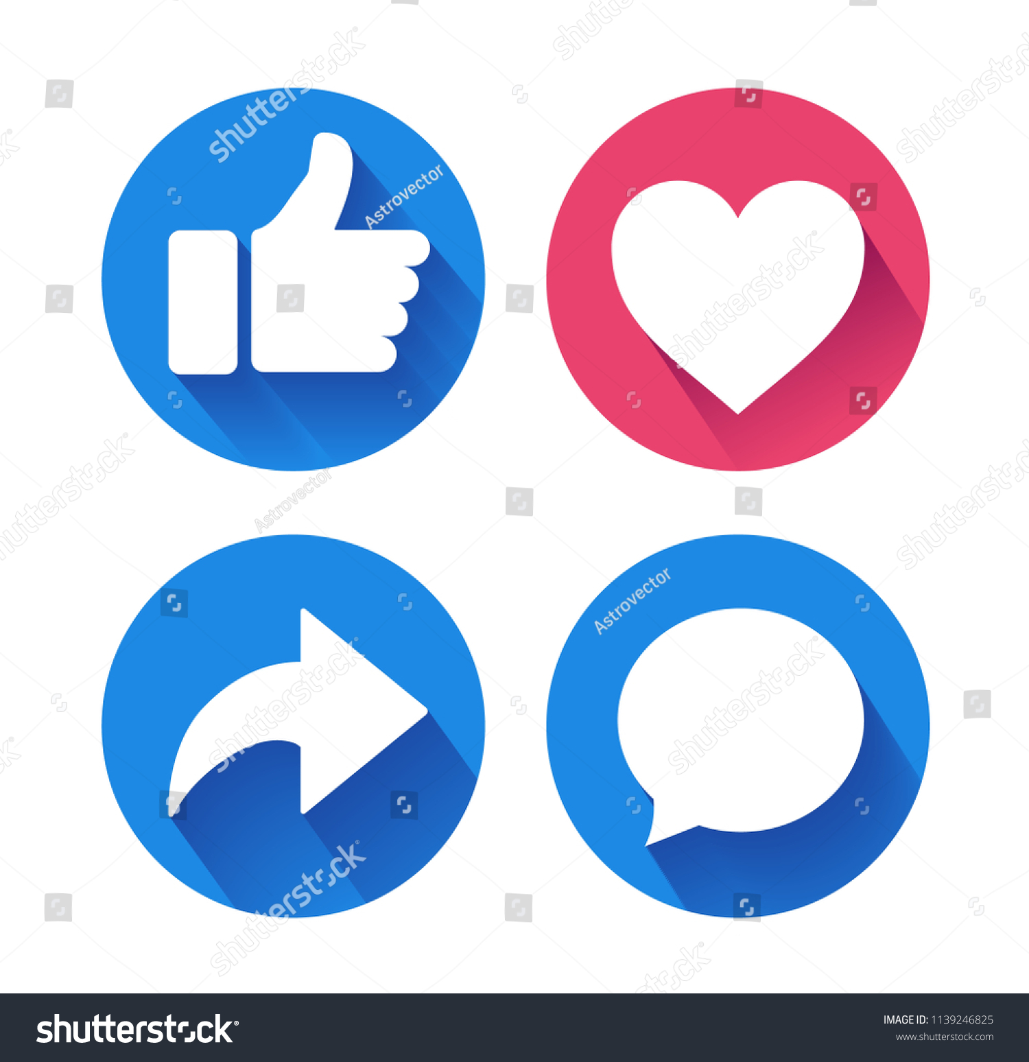 Thumbs Heart Icon Repost Comment Icons Stock Vector Royalty Free
