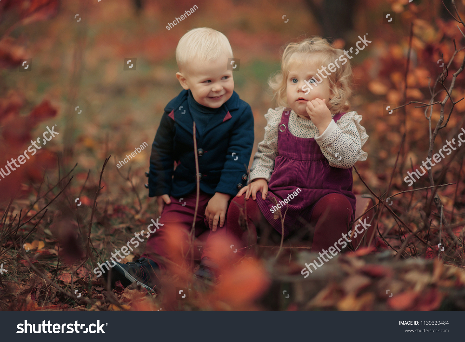 Little Cute Girl Boy Blondes Sitting Stock Photo Edit Now