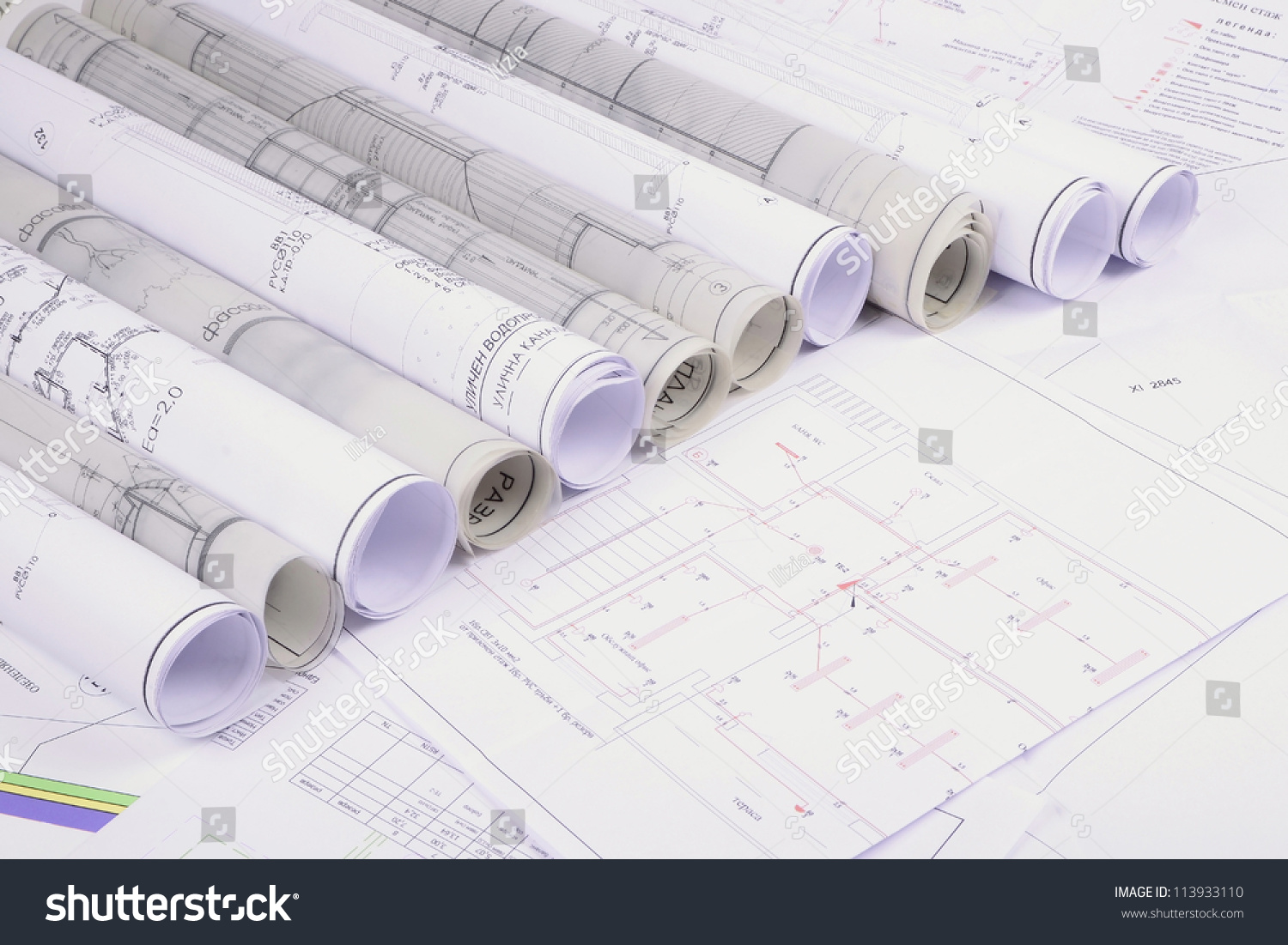 Architectural plans of the old paper tracing paper