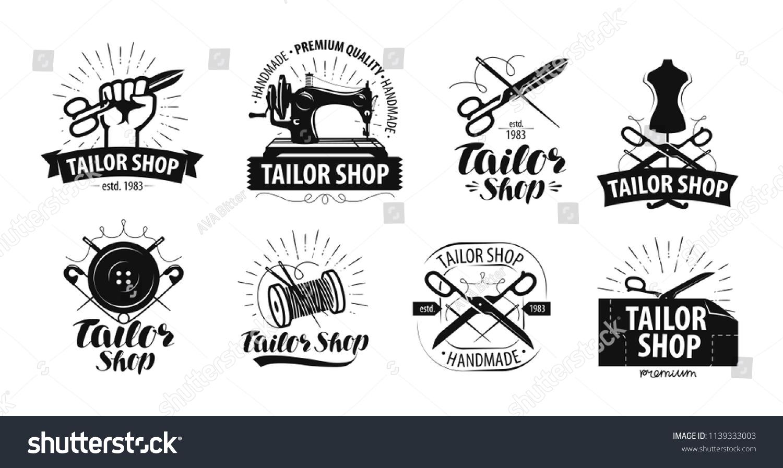 ba2895e4dd Tailor Shop Logo Label Tailoring Concept Stock Vector (Royalty Free ...