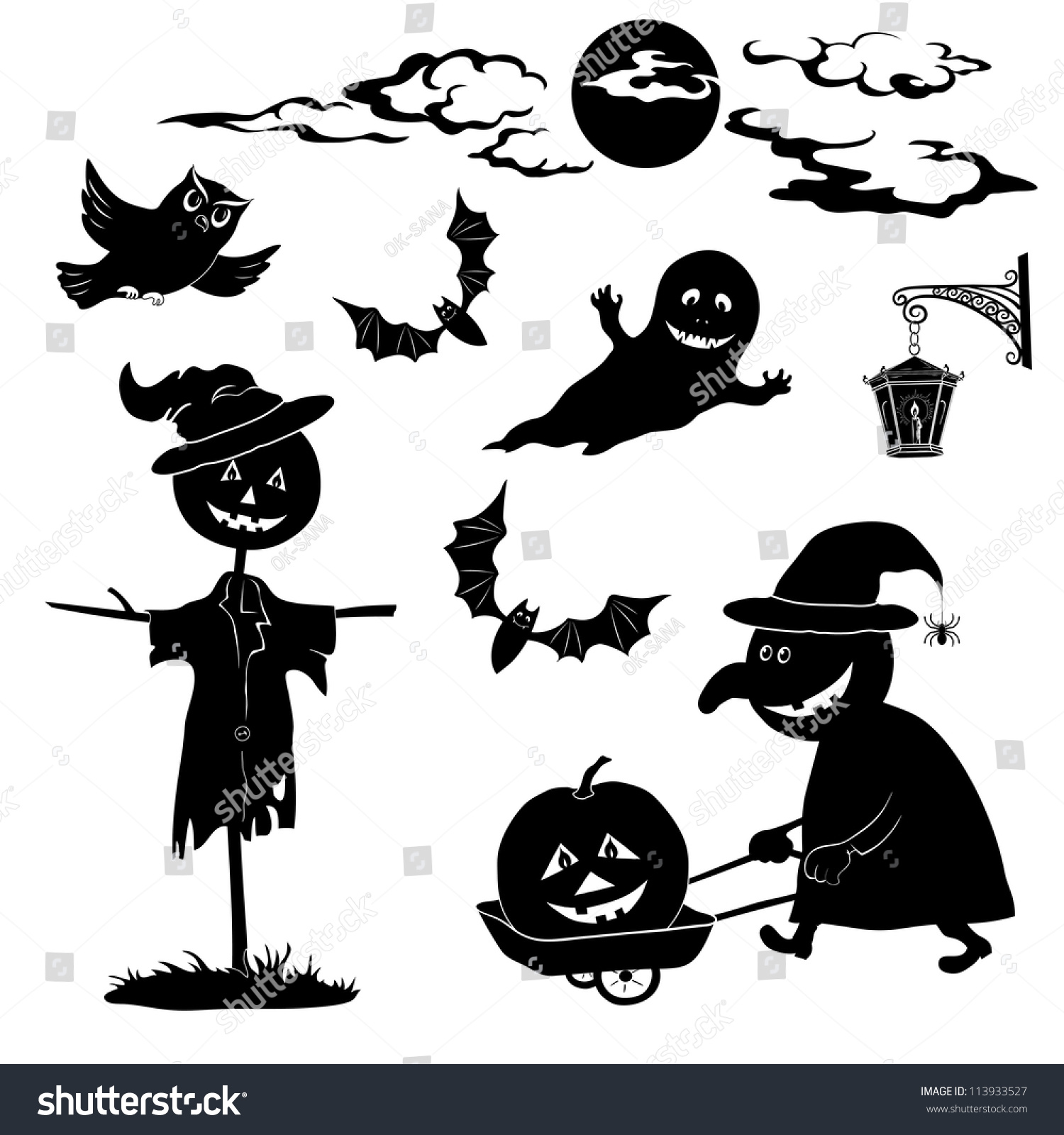 halloween cartoon set black silhouette on stock illustration