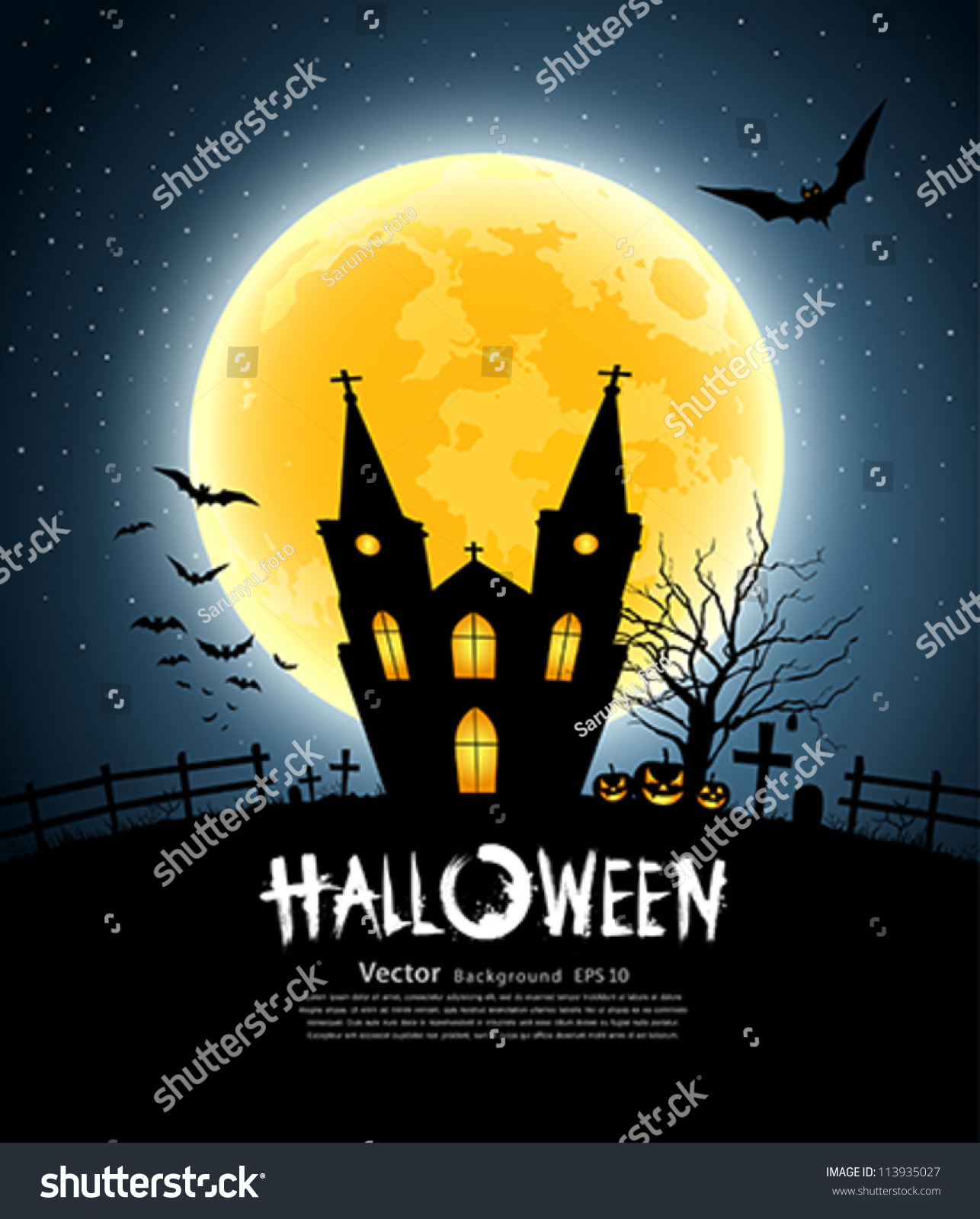 Halloween House Party Full Moon Vector Stock Vector 113935027 ...