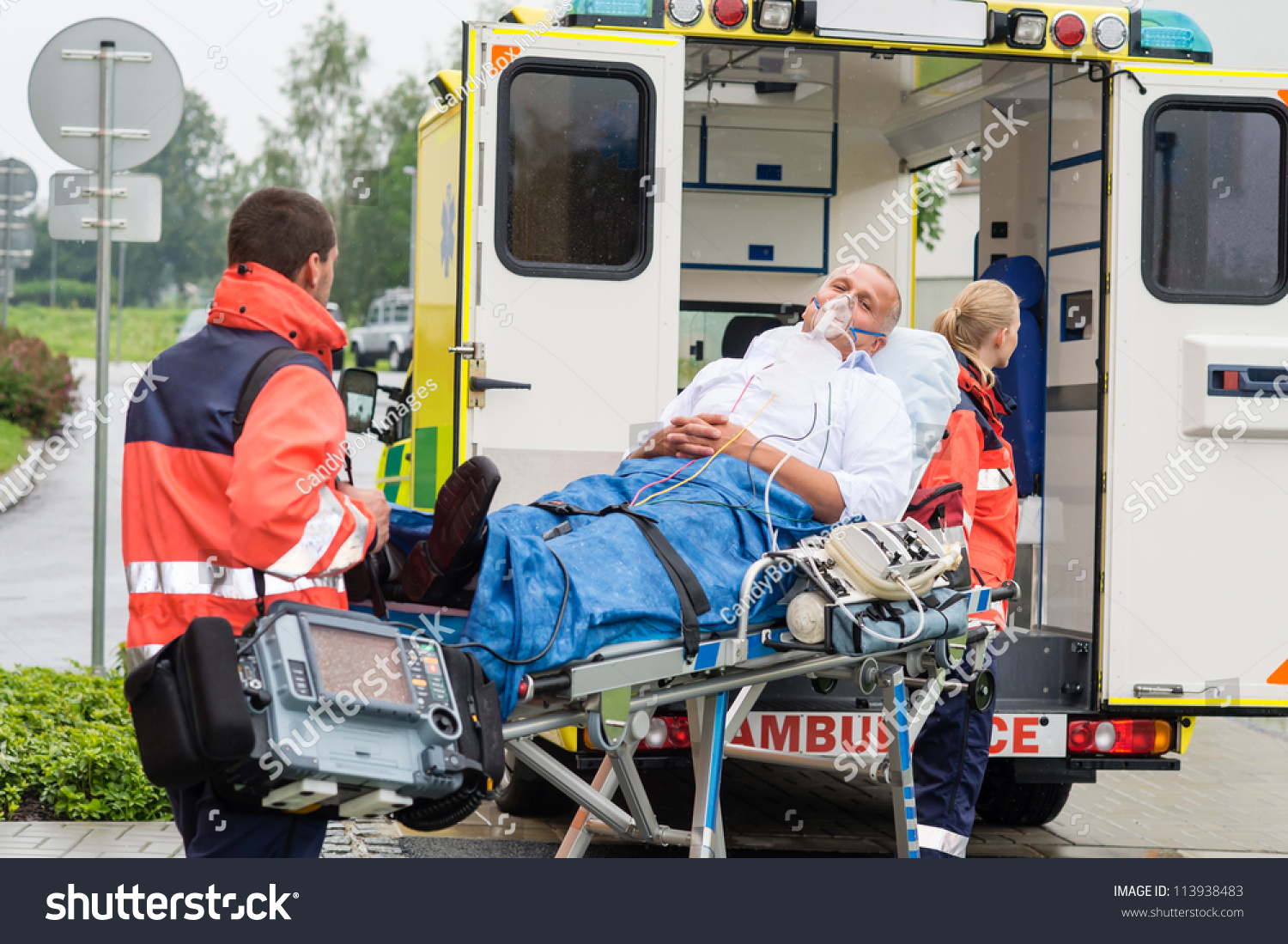 Oxygen Mask Male Patient Ambulance Stretcher Stock Photo ...