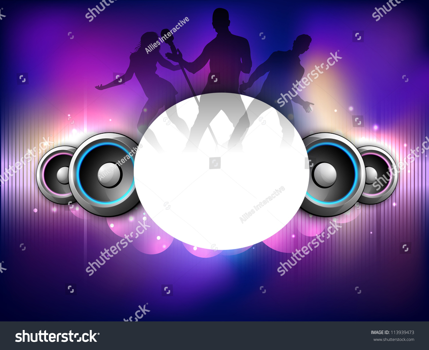 Silhouette Dance Music Abstract Background: Colorful Abstract Speakers Background Dancing Peoples