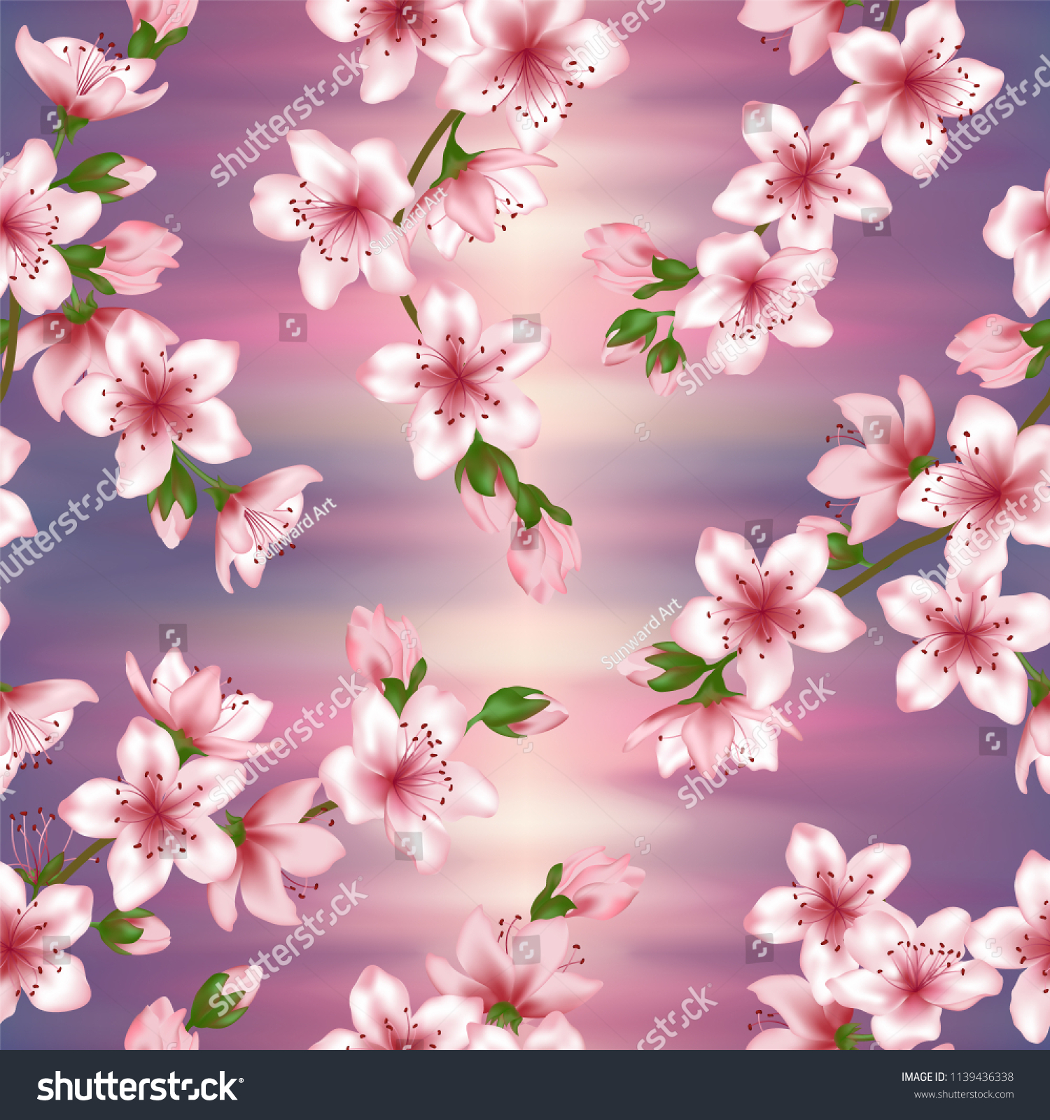 Pink Japanese Cherry Blossom Sakura Branches Stock Vector Royalty Free 1139436338