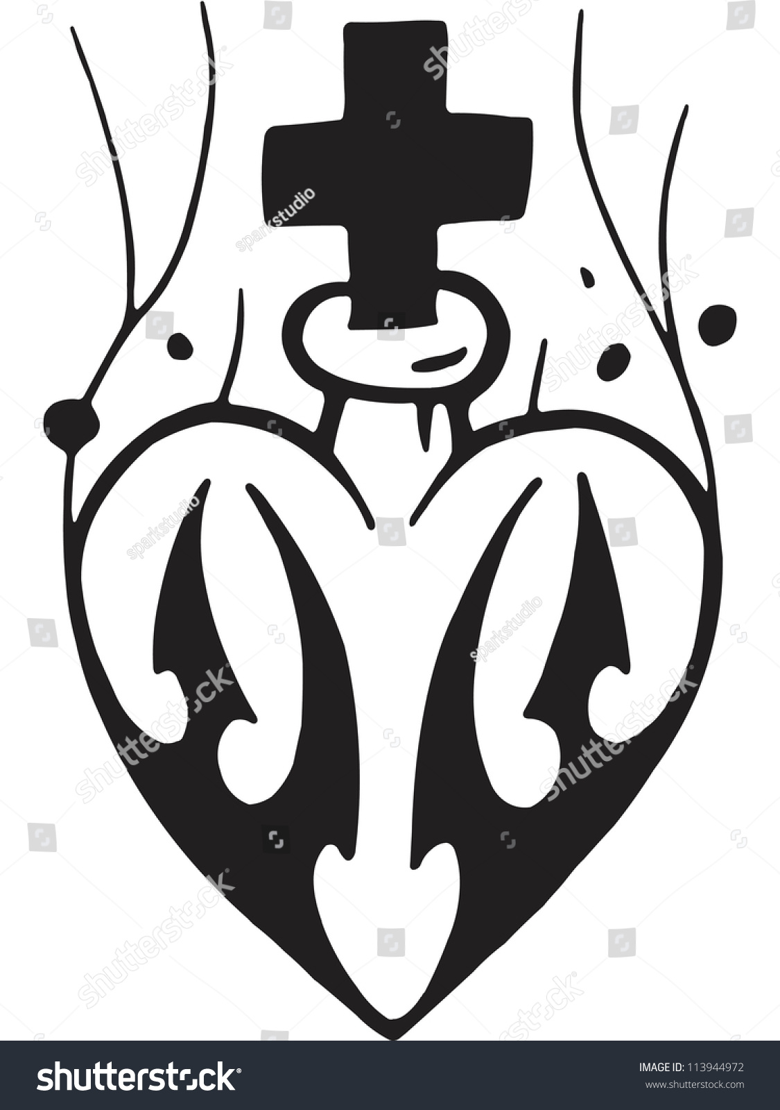 A Black And White Version Of Stencil Of A Heart And Cross Stock Photo 113944972 ...