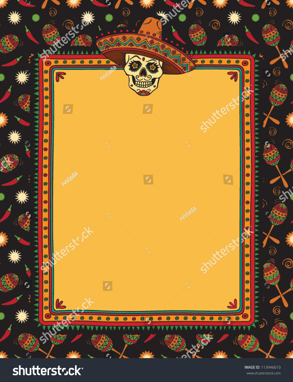 vector mexican frame with skull in sombrero - Mexican Frame