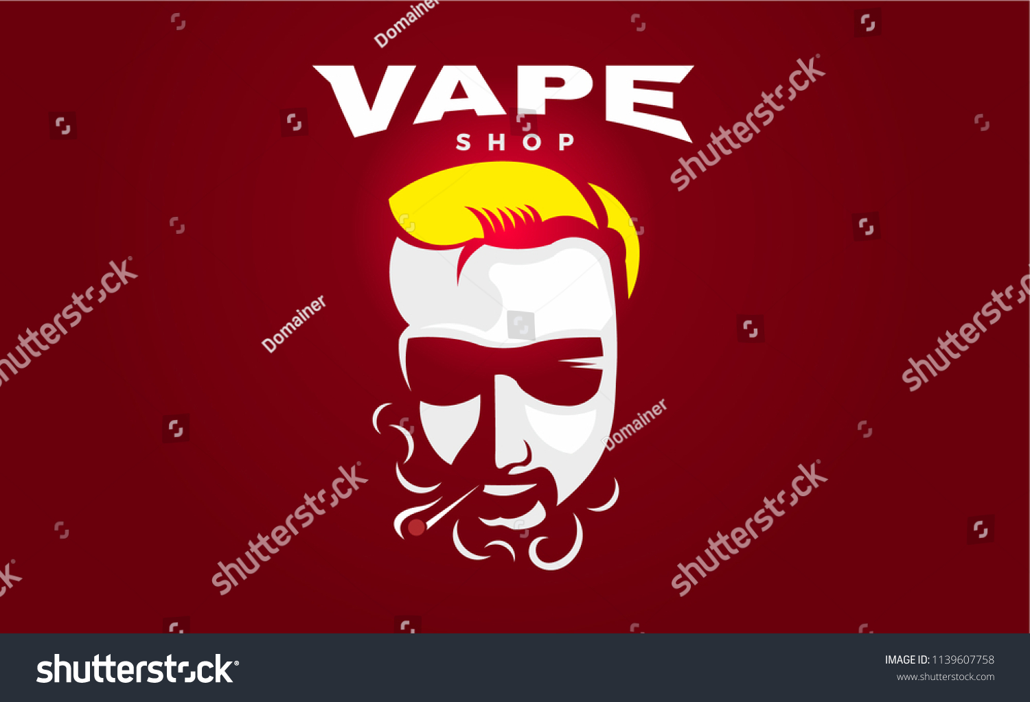 Hipster dude with mustache and beard man with vape and cloud electronic cigarette