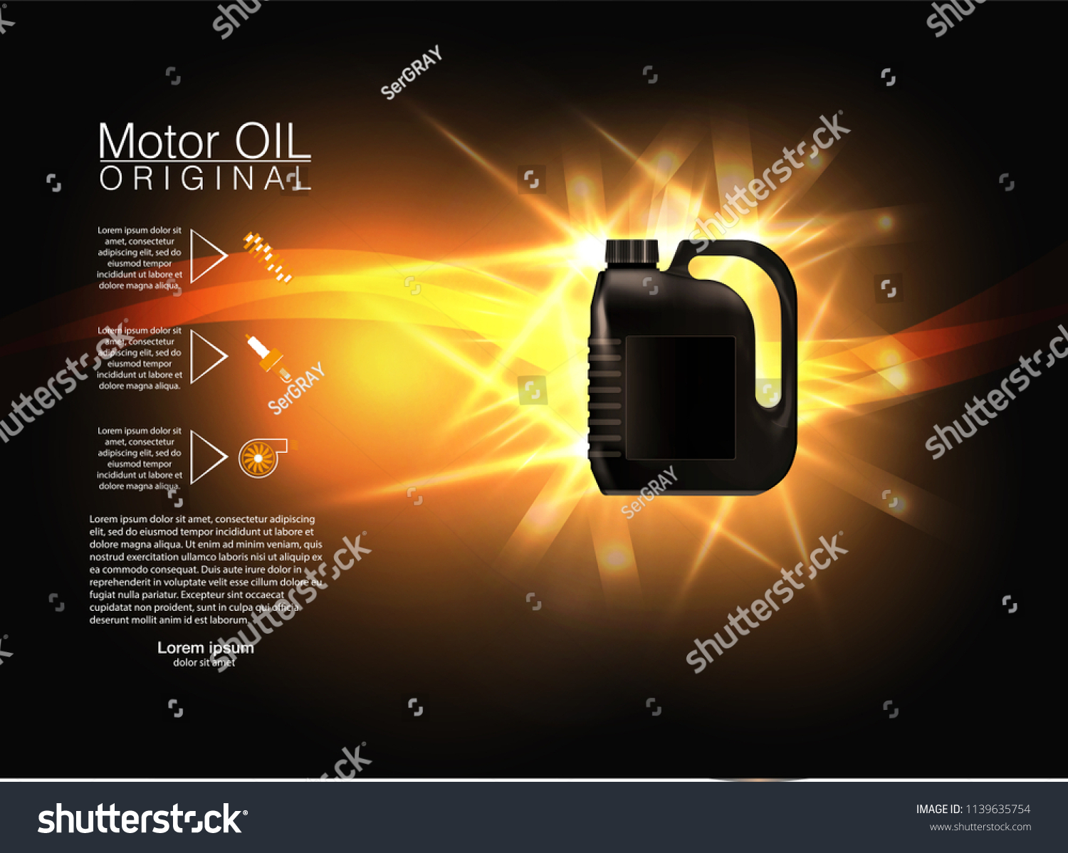 Bottle Engine Oil On A Background A Motor Car Piston Technical Illustrations Realistic