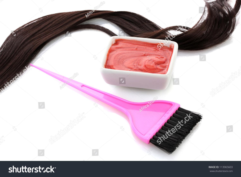 Bowl Hair Dye Pink Brush On Stock Photo Edit Now 113965603