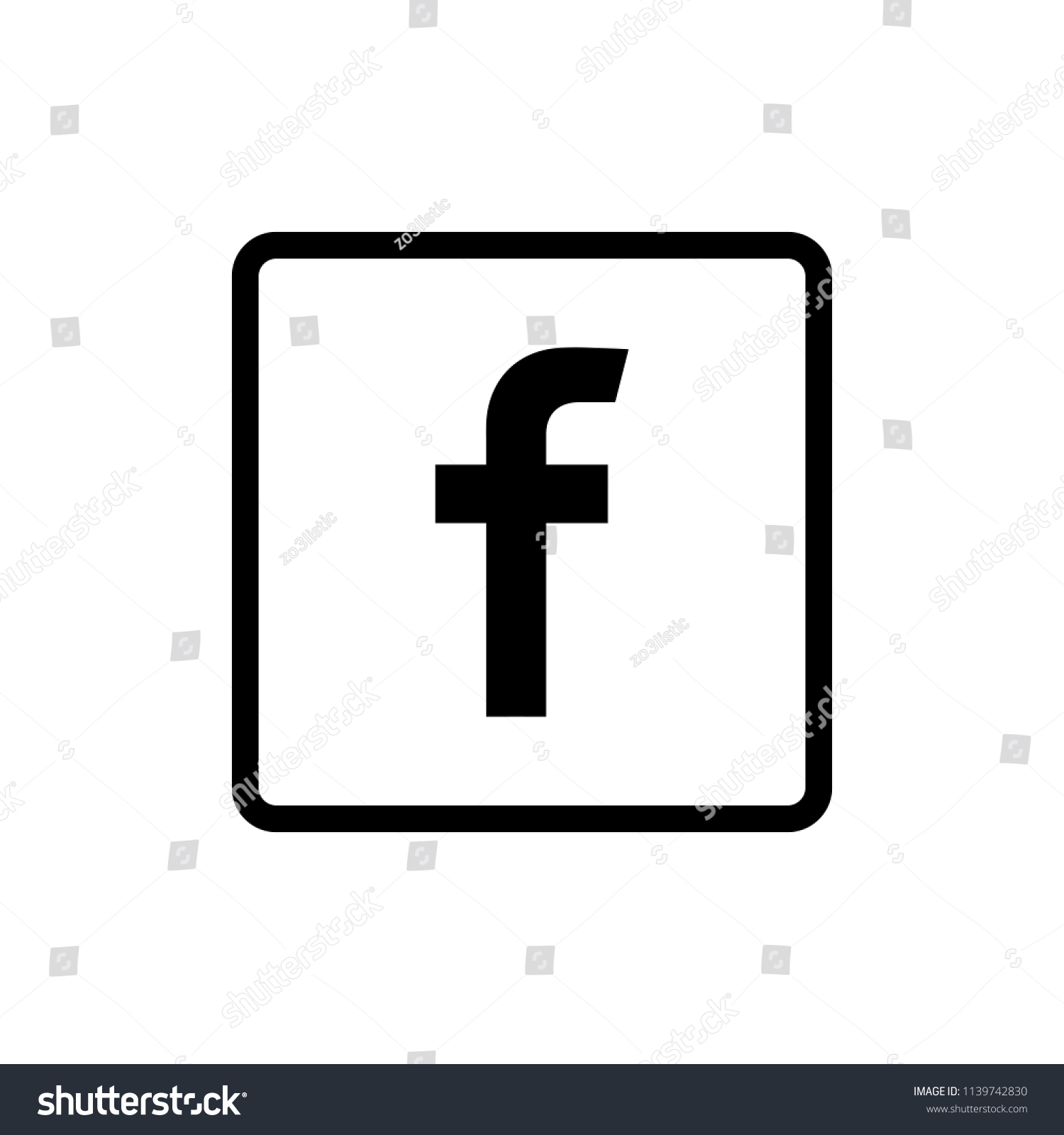 Letter F Icon Social Media Icon Stock Vector Royalty Free