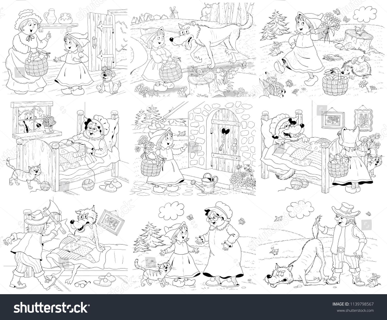 Little Red Riding Hood Fairy Tale Stock Illustration 1139798567
