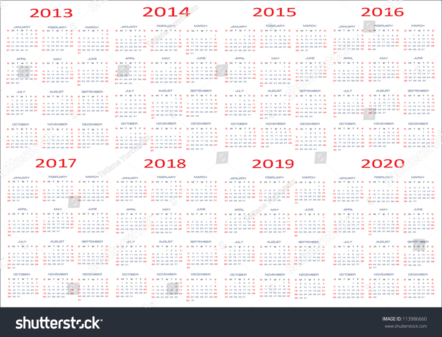 Calendar 2013-2020 Calendar classic templates for years… Stock Photo 113986660