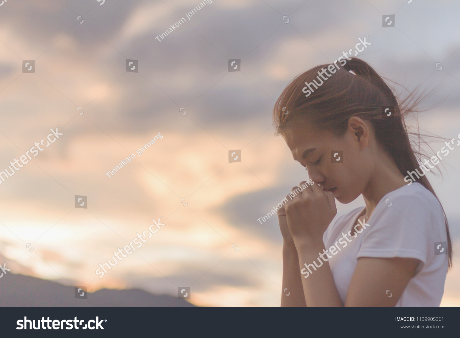 Woman Hands Praying God Bible Begging Stock Photo (Edit Now