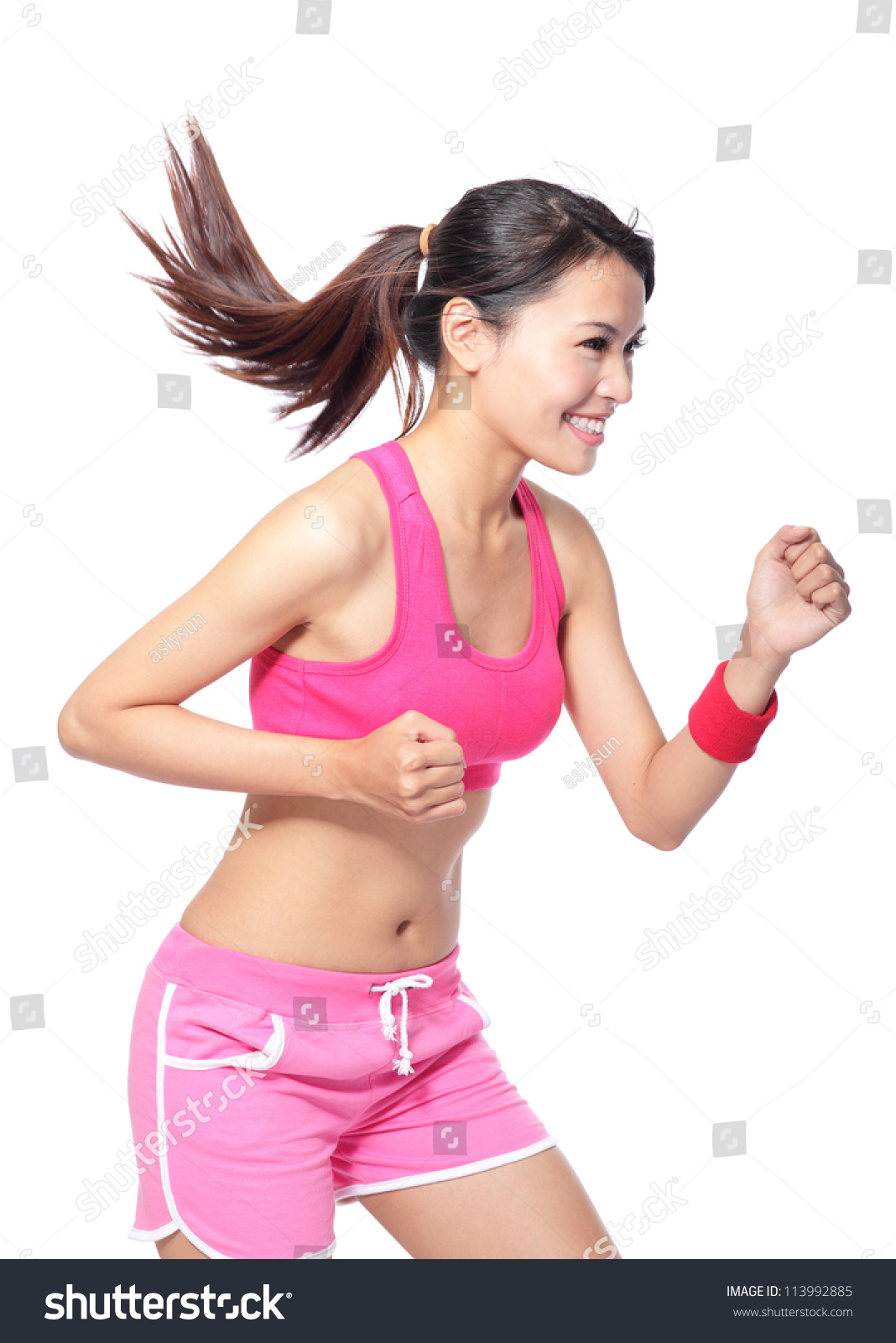 8cef64d1bb3b Runner woman in profile. Running fit fitness sport model jogging smiling  happy isolated on white background. model is a asian girl - Image