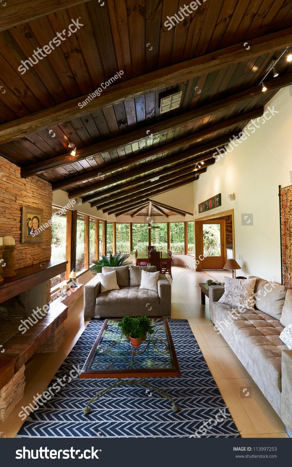 Classic Living Rooms Interior Design: Interior Design Series: Classic Rustic Living Room Stock