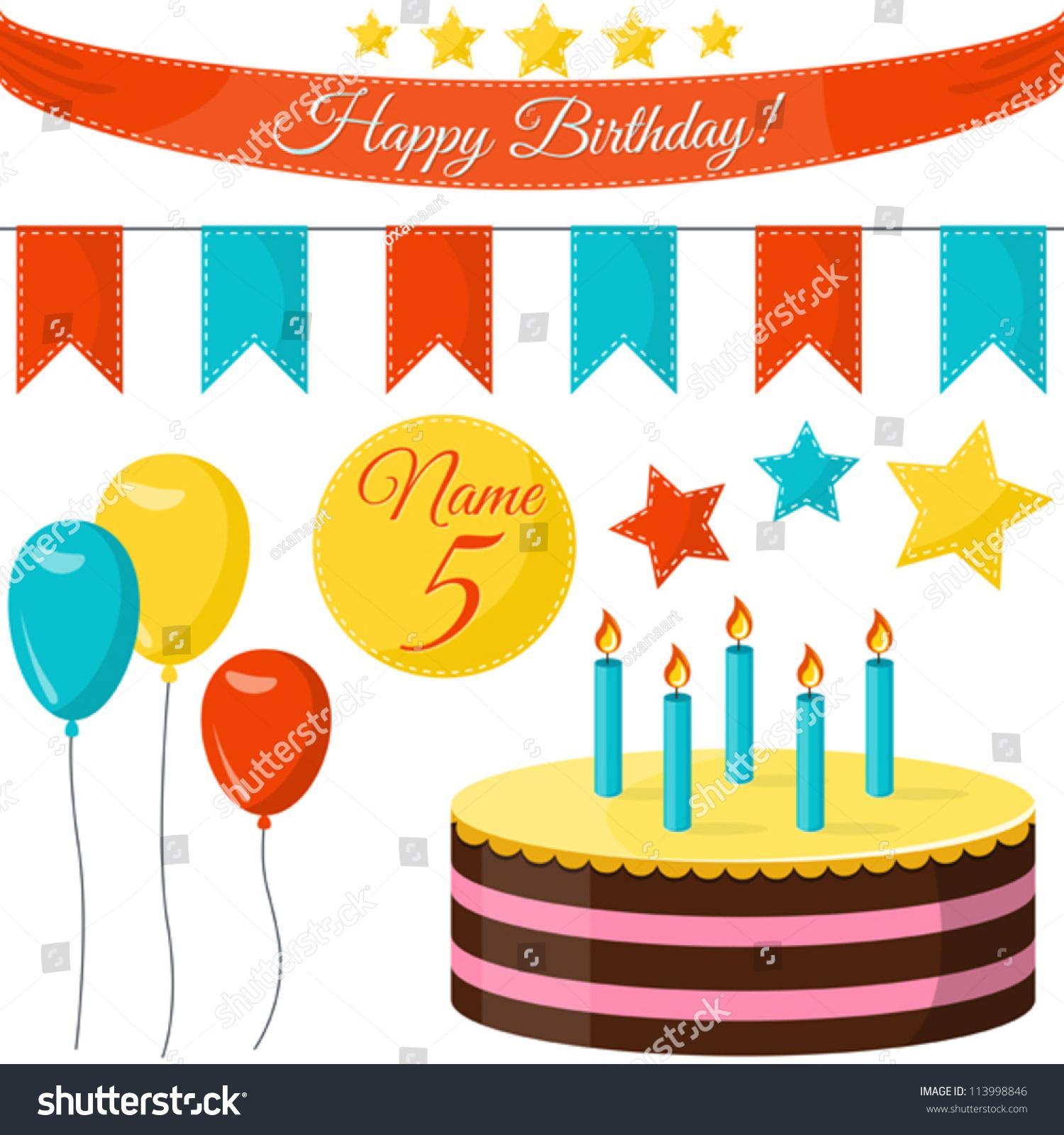 Happy Birthday Party Vector Set Cake Stock Vector