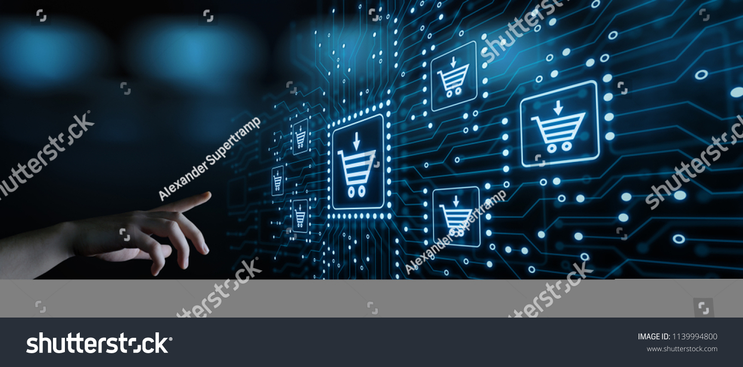 e-commerce add to cart online shopping business technology internet concept. #1139994800