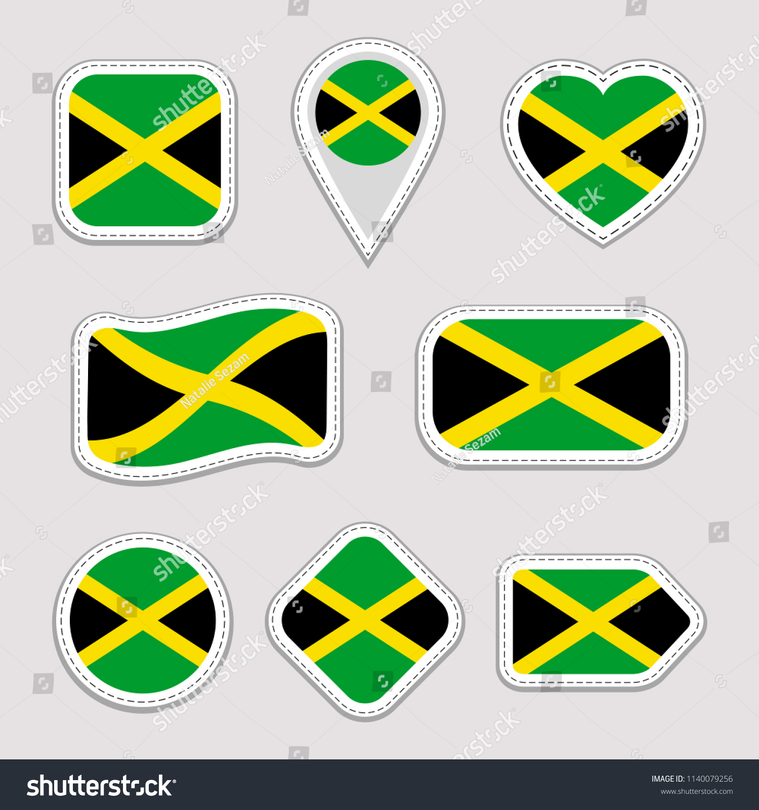 Jamaica flag vector set jamaican national flags stickers collection isolated geometric icons web