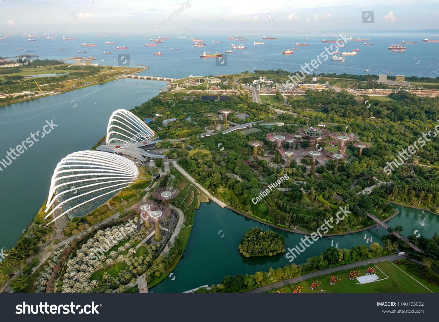 SINGAPORE,SINGAPORE - AUG. 27 : Singapore aerial view on Auguest 27,2017 in Singapore,Singapore. It is a global commerce, finance and transport hub and has a diversity of languages,religions,cultures. #1140153002
