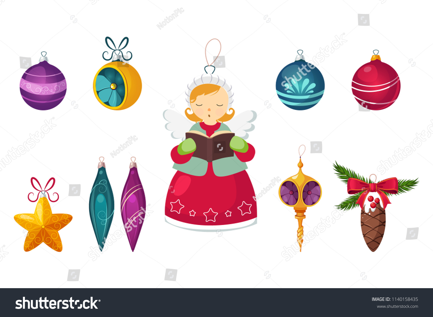 New Year Traditional Symbols Collection Christmas Stock Vector ...