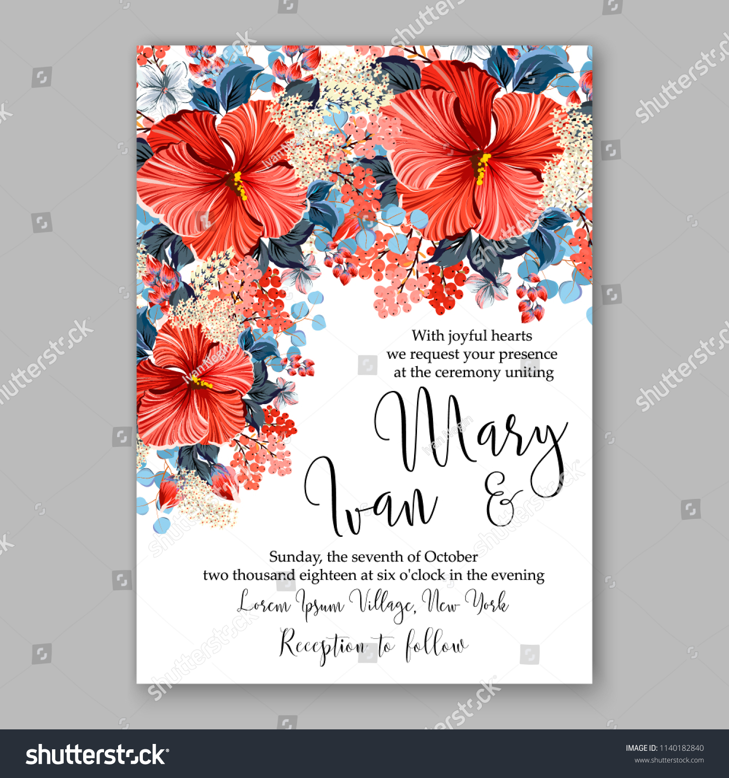 Red Hibiscus Wedding Invitation Tropical Floral Stock Vector ...
