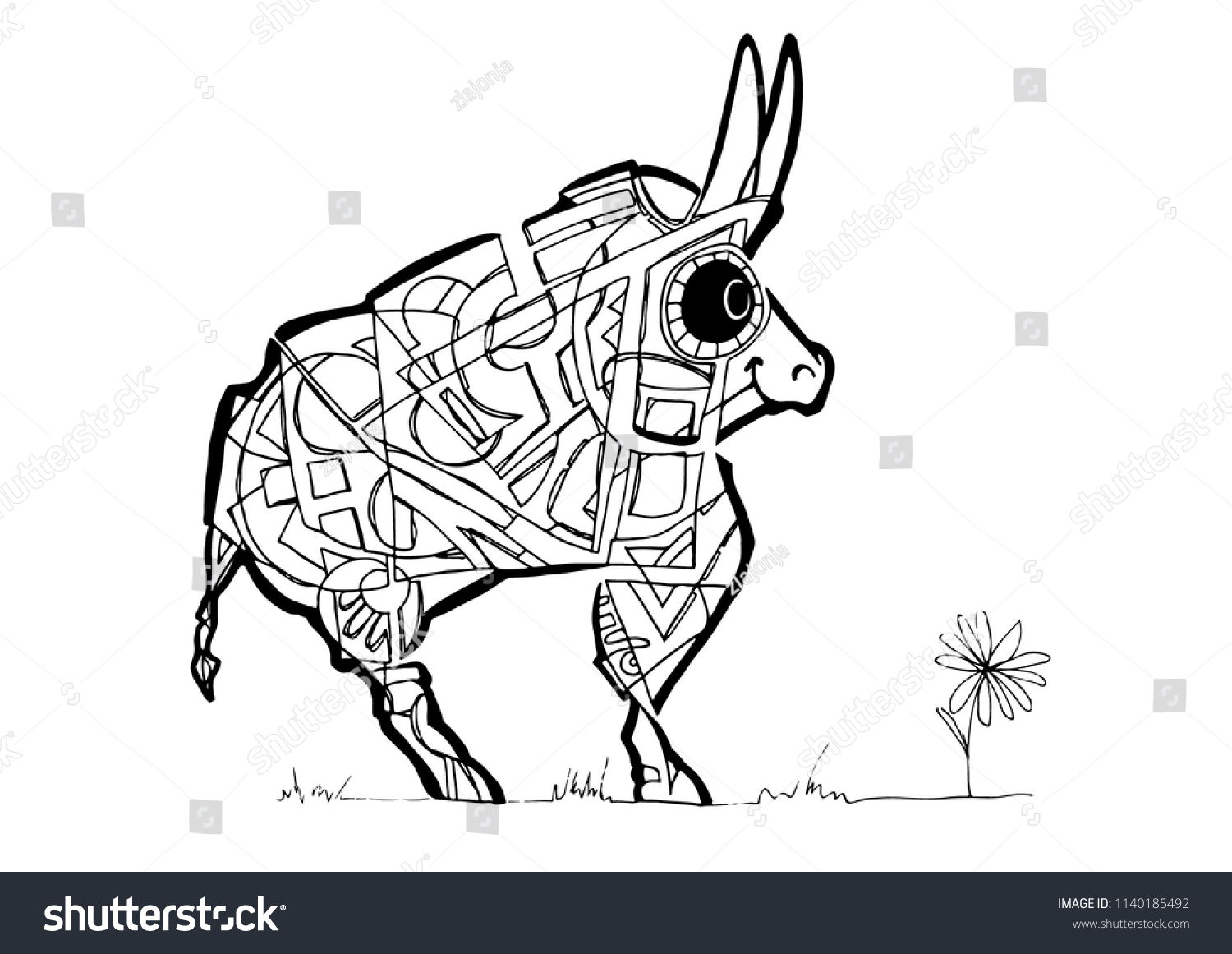 Abstract Ox Coloring Page Stock Vector (Royalty Free) 1140185492 ...