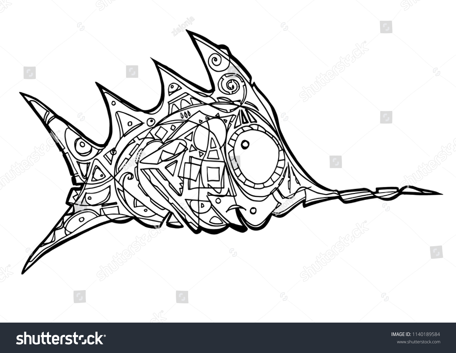 Swordfish Coloring Page Abstract Stock Vector (Royalty Free ...