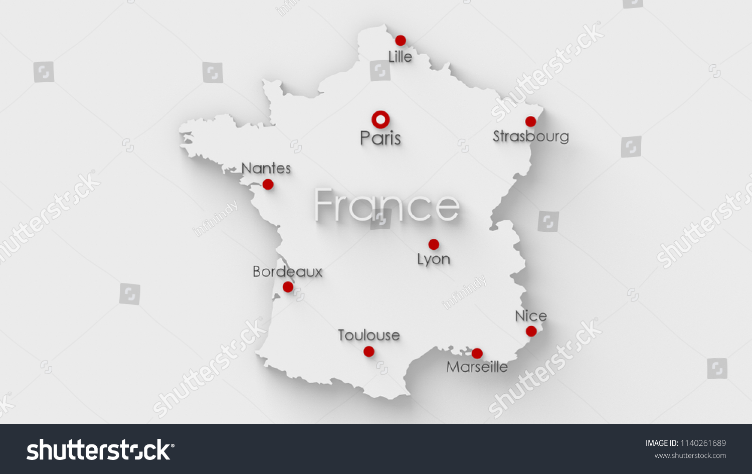 Map Of France Major Cities.Simple White Map France Capital Major Stock Illustration 1140261689