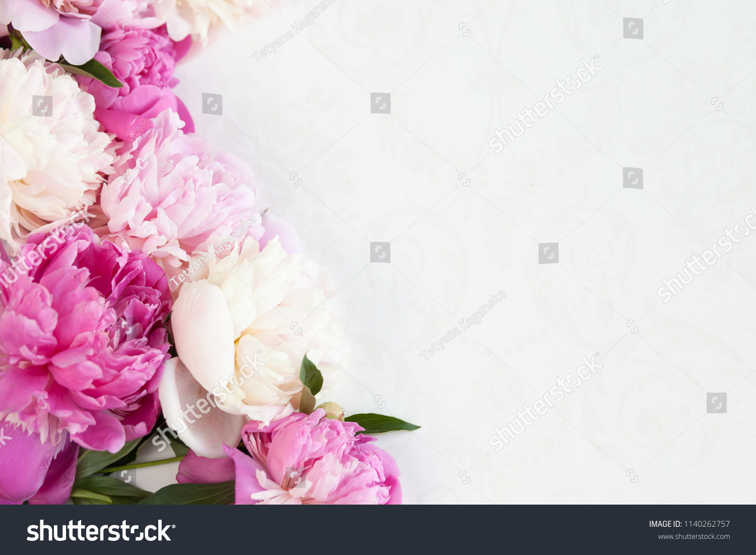 Pink Floral Pink Peonies Flower Border Stock Photo Edit Now