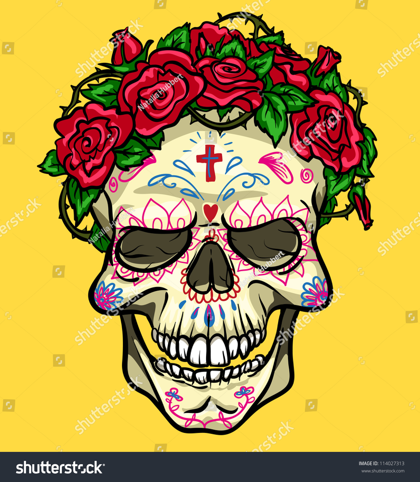 Skull Roses Day Dead Sugar Skull Stock Vector 114027313