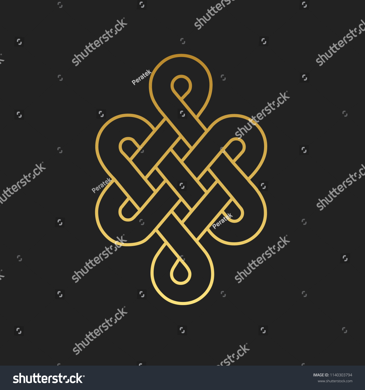 Traditional Buddhist Symbol Luck Vector Illustration Stock Vector