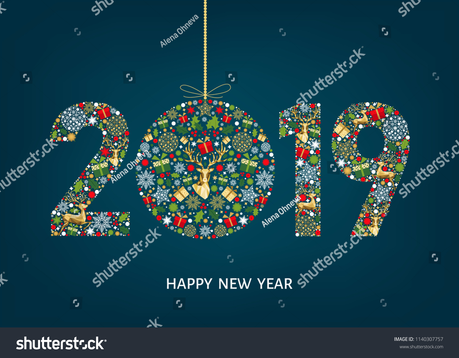2019 Happy New Year Greeting Card Stock Vector Royalty Free