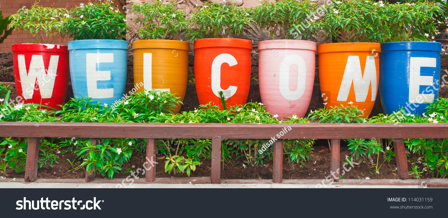 welcome sign flower pot stock photo 114031159 - shutterstock