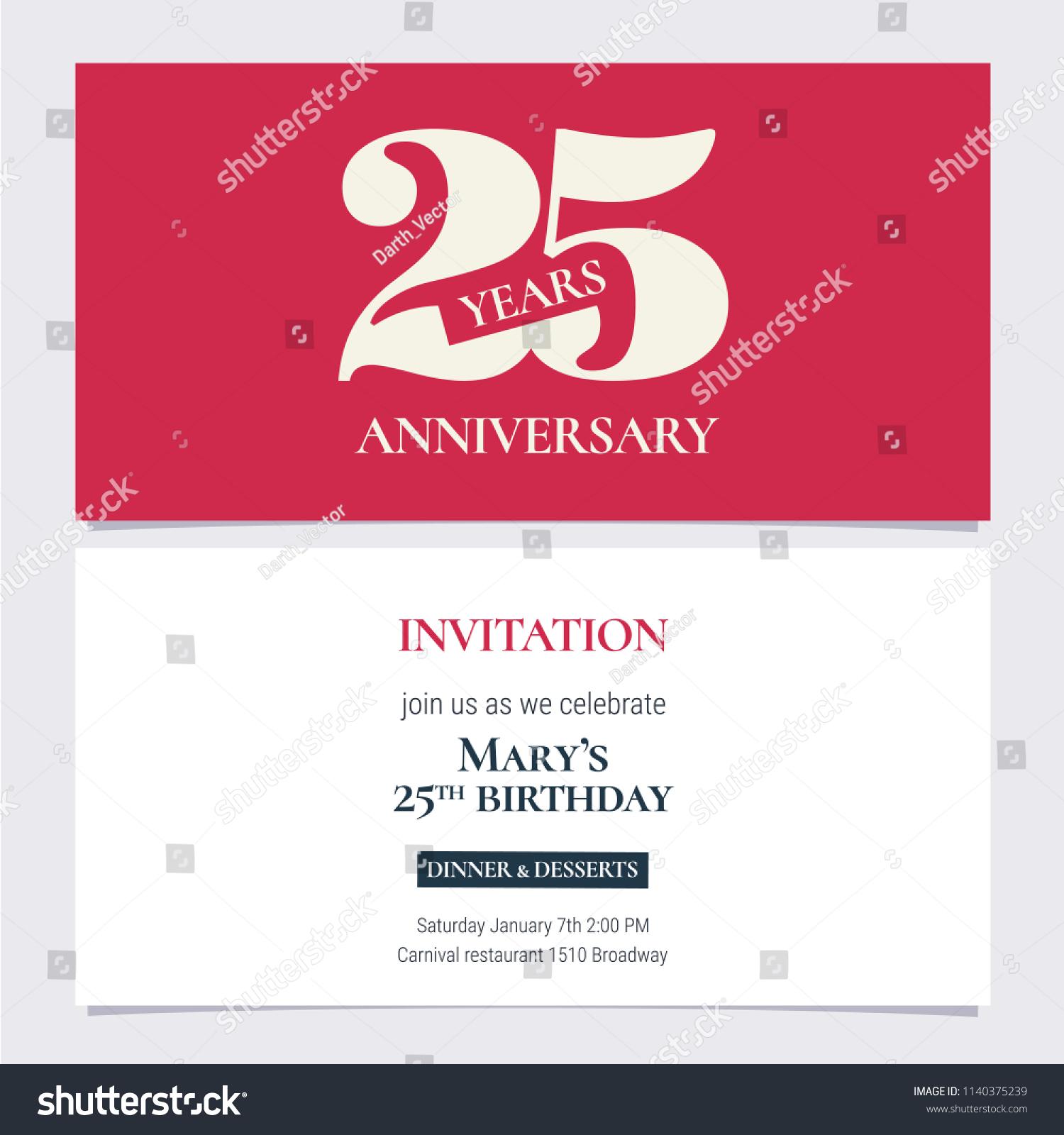 25 Years Anniversary Invitation Vector Illustration Stock Vector ...