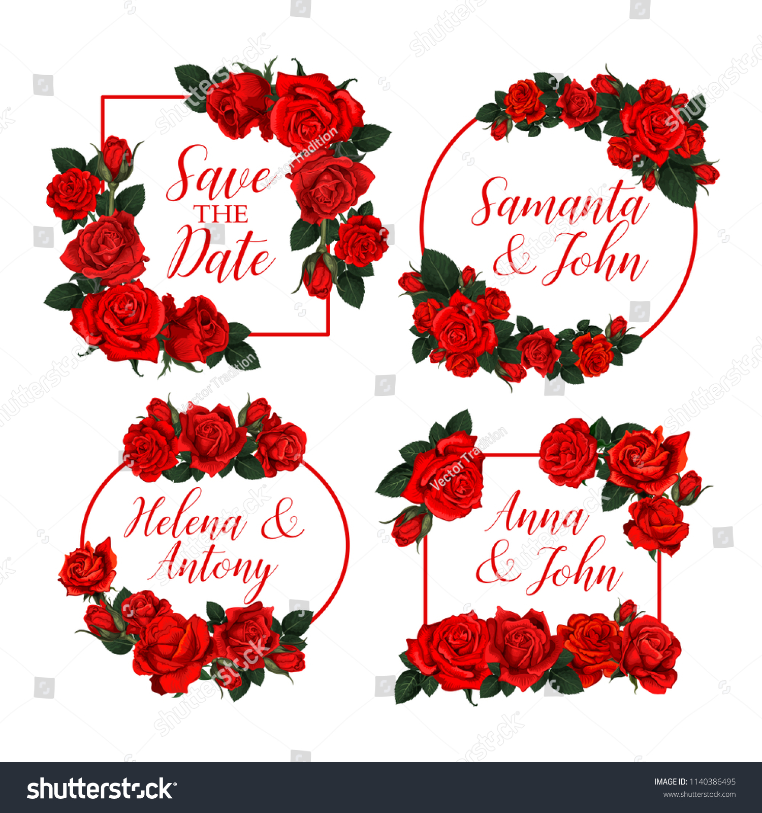 Save Date Floral Frames Red Roses Stock Vector (Royalty Free ...